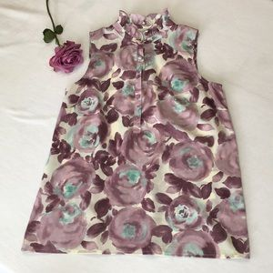 LOFT sleeveless purple floral top with ruffle neck